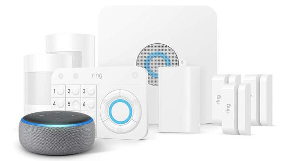 """<a href=""""https://amzn.to/2XgvlR3"""" target=""""_blank"""" target=""""_blank""""><strong>Ring Alarm 8-Piece Kit with Echo Dot ($204.00, originally $318.97; amazon.com)</strong></a>"""