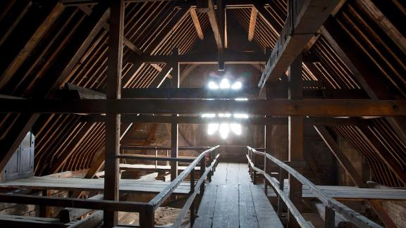 The cathedral's ceiling contains thousands of oak beams, some of which date as far back as the 12th century.