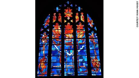 Rona Moody designed this stained glass in St Andrews Psalter Lane Church in the UK.