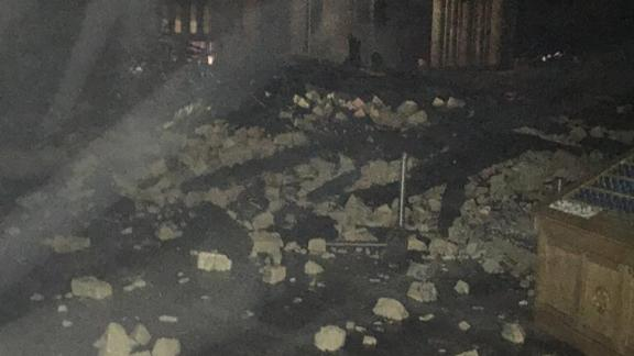 Rubble scattered on the cathdral floor, in this photo obtained by CNN.