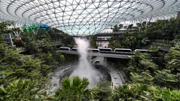 TOPSHOT - Newly built Changi Jewel complex at the Changi international airport is pictured during a media preview in Singapore on April 11, 2019. (Photo by Roslan RAHMAN / AFP)        (Photo credit should read ROSLAN RAHMAN/AFP/Getty Images)