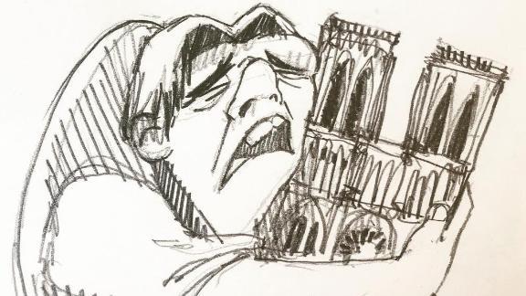 Notre Dame's famously hunchbacked bell ringer hugs the landmark in Cristina Correa Freile's illustration.