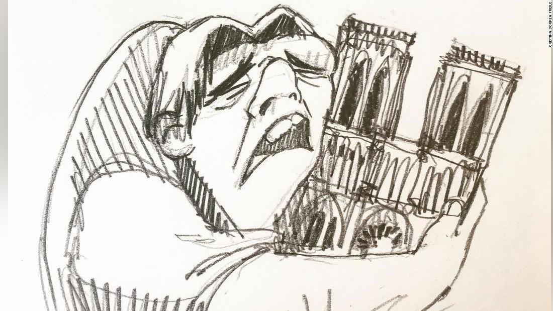 Image result for Artist sketches notre dame