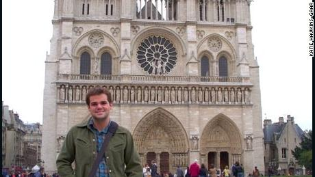 The author's husband at Notre Dame on their honeymoon in 2008.