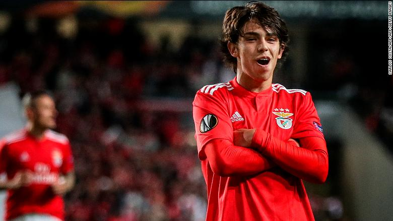 Joao Felix celebrates after scoring against  Eintracht Frankfurt.