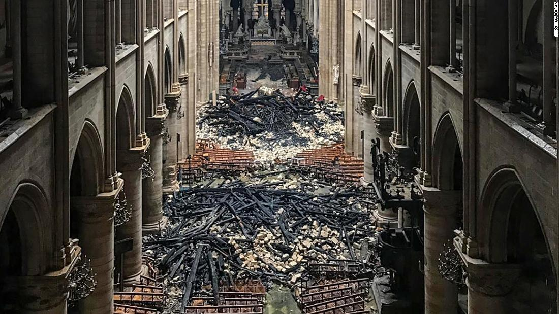 The interior of Notre Dame is seen in this photo taken April 16.