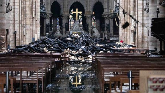 Debris that from the burnt out roof piled up near the altar.