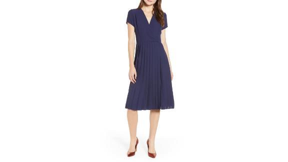 "<strong>LEITH Pleated Surplice Dress ($37.49, originally $75; </strong><a href=""https://click.linksynergy.com/deeplink?id=Fr/49/7rhGg&mid=1237&u1=0416nordspringsale&murl=https%3A%2F%2Fshop.nordstrom.com%2Fs%2Fleith-pleated-surplice-dress-regular-plus-size%2F5036970%3Forigin%3Dcategory-personalizedsort%26breadcrumb%3DHome%252FSale%252FWomen%26color%3Dnavy%2520peacoat"" target=""_blank"" target=""_blank""><strong>nordstrom.com</strong></a><strong>) </strong>"