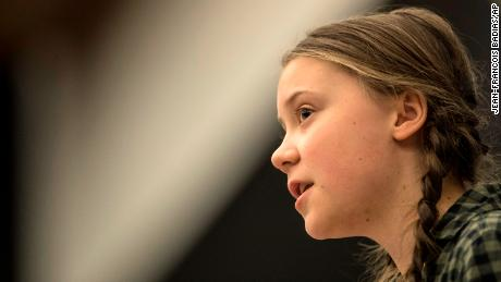 Young Swedish environmental activist Greta Thunberg gives a speech during a special meeting of the Environment Committee at the European Parliament in Strasbourg, Eastern France, Tuesday April 16, 2019. Thunberg received a standing ovation for her speech. (AP Photo/Jean-Francois Badias)