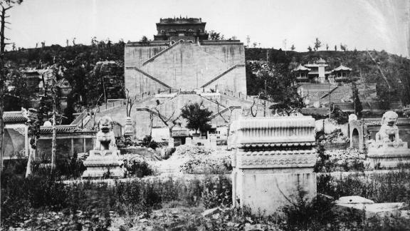 Imperial bronze lion sculptures in the ruins of the Old Summer Palace, Beijing, China, 1869. The Palace, formerly the residence of emperors of the Qing Dynasty, was destroyed by British and French forces during the Second Opium War in 1860.