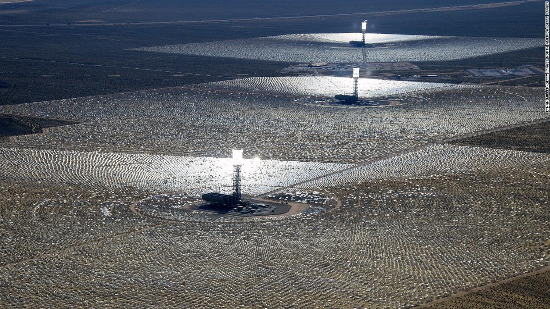 "Located in the Mojave Desert, Ivanpah was <a href=""https://www.energy.gov/lpo/ivanpah"" target=""_blank"">the largest concentrated solar power facility in the world</a> when it opened in 2014. Its three 450-foot towers are topped with water tanks, which are boiled by intense reflected sunlight and can create enough steam to generate 392 megawatts of electricity, per the US Department of Energy."