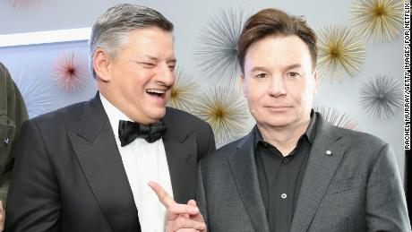 Netflix's chief content officer Ted Sarandos and Mike Myers in January