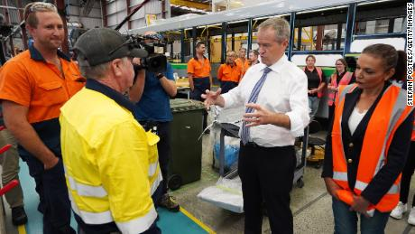 Opposition Leader Bill Shorten meets with workers during a visit to a Volgren Bus Australia facility in the federal seat of Cowan on April 17, 2019 in Perth, Australia.