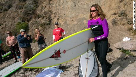 Sarah Gerhardt was one of the first women to compete in the Mavericks surfing contest in California.