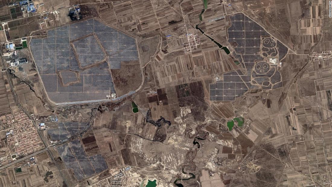 "A wider view of the Panda plant with other facilities, southeast of Datong. The Datong Solar Power Top Runner Base has a reported output capacity of <a href=""http://ieefa.org/wp-content/uploads/2018/05/IEEFA-Global-Solar-Report-May-2018.pdf"" target=""_blank"">1,070 megawatts</a>."
