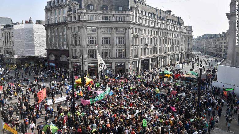 Climate change activists blockade London's Oxford Circus on Wednesday.