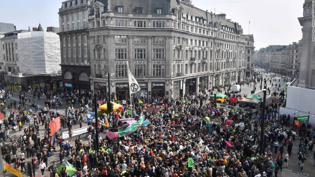 Activists block Oxford Circus in central London on Wednesday.