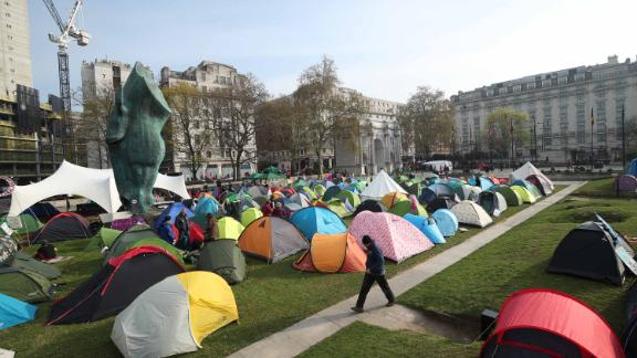 Extinction Rebellion demonstrators camp near Marble Arch, London, on April 16.
