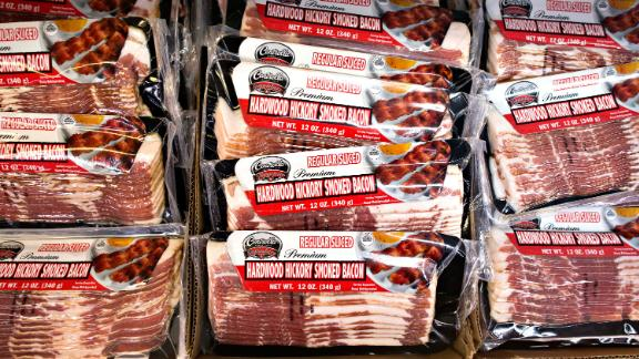 Centrella brand bacon sits on display at a supermarket in Princeton, Illinois, U.S., on Thursday, Aug. 14, 2014.