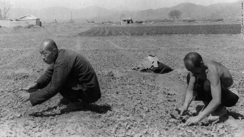 Farmers work in the cooperative collective farm in 1950 near Beijing, China.