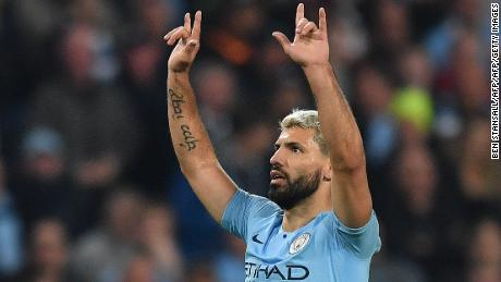 Sergio Aguero gave Manchester City the lead in the tie for the first time.
