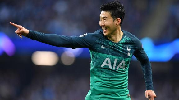 Tottenham Hotspur's South Korean striker Son Heung-Min celebrates scoring the team's first goal during the UEFA Champions League quarter final second leg football match between Manchester City and Tottenham Hotspur at the Etihad Stadium in Manchester, north west England on April 17, 2019. (Photo by Ben STANSALL / AFP)        (Photo credit should read BEN STANSALL/AFP/Getty Images)