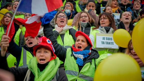"A group of women participate in France's ""yellow vest"" protests in January."