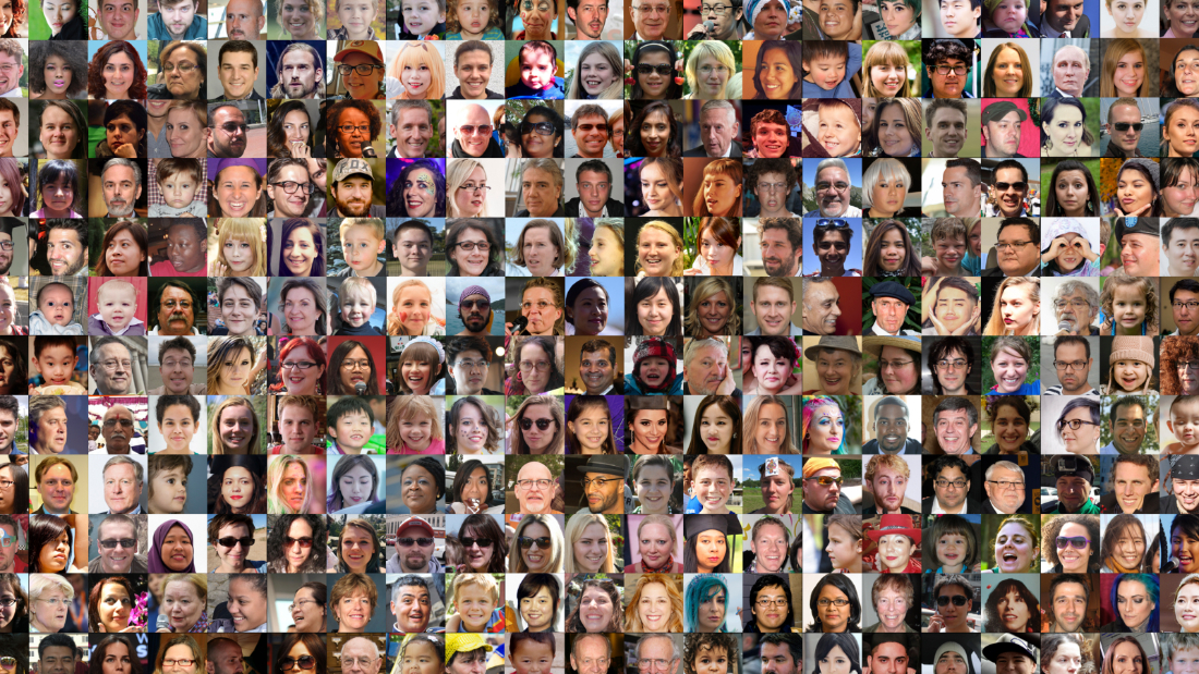These faces are in the dataset Nvidia compiled to train its StyleGAN AI system.