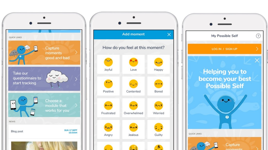 The My Possible Self app allows users to track their mood and well-being.