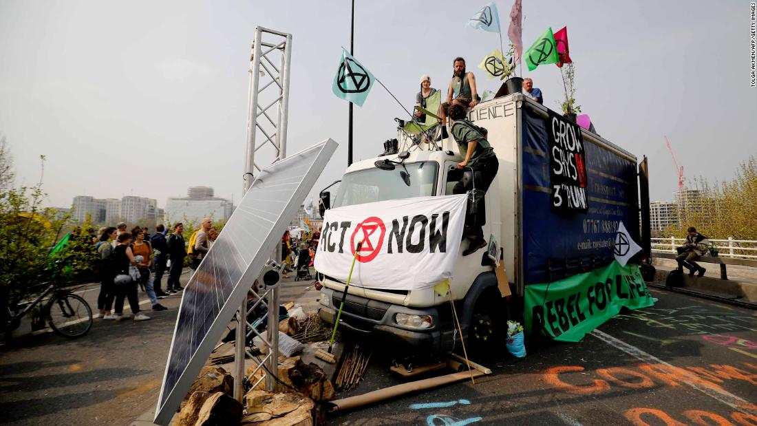 Activists blockade Waterloo bridge on the third day of protests organized by the Extinction Rebellion group.