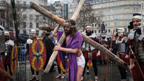 "The Wintershall players perform ""The Passion of Jesus"" in front of crowds in Trafalgar Square."
