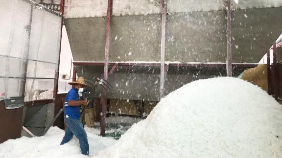 Plastic flakes are produced from recycled material. These flakes will be turned into pellets.