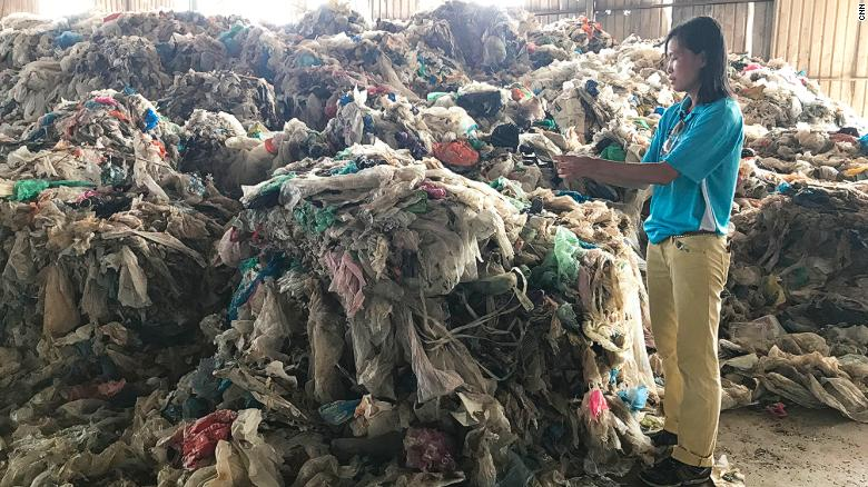 A pile of plastic that cannot be recycled has accumulated in a Malaysian town.