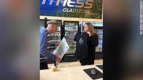 Fred Lawrence was presented with a new 24 Hour Fitness T-shirt, a cupcake and  card signed by the staff and every member of the gym on Wednesday when he came to work out on his 98th birthday.