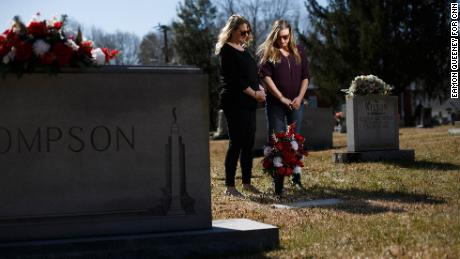 Jennifer Alba, left, and Kristin Rowell about Joseph Hockett. s grave at the Shallow Ford Christian Church in Elon, North Carolina.