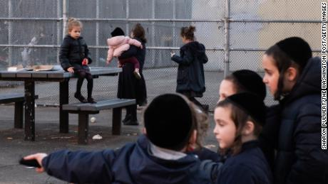 Children at a playground in Williamsburg, where 294 cases of measles were found.