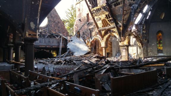 The sanctuary of First Presbyterian Church of Englewood after it suffered a fire during Holy Week in 2016.