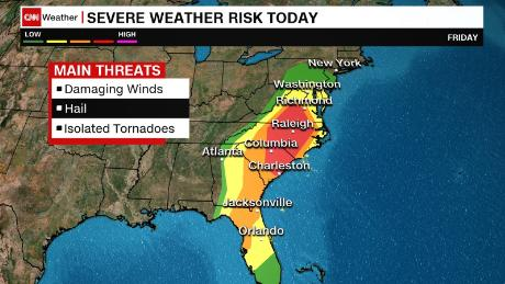 Regions under severe weather threat today
