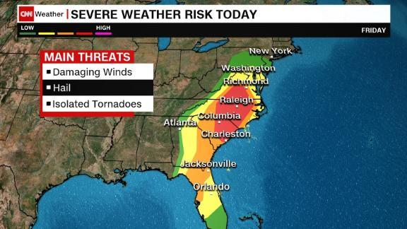 Regions under severe weather threat today