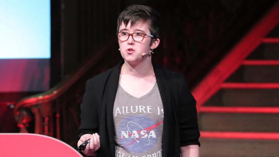 Lyra McKee gives a TEDx talk in Northern Ireland's Parliament buildings in November 2017.