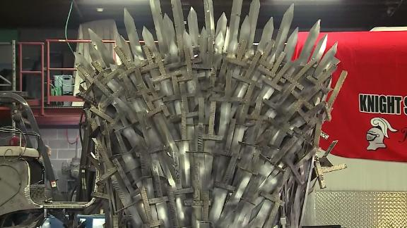 The throne weighs 200 pounds and has 300 swords welded onto it.