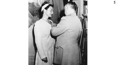 Virginia Hall being awarded the Distinguished Service Cross in 1945.
