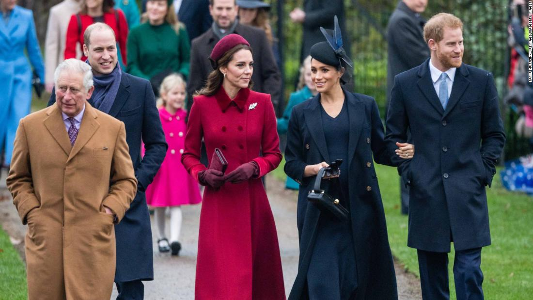 Meghan and Harry attend a Christmas Day church service in December. With them, from left, are Prince Charles, Prince William and William's wife Catherine, the Duchess of Cambridge. Harry and William are the two sons of Prince Charles and the late Princess Diana.