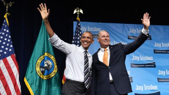 Inslee is joined by President Barack Obama at a fundraiser in Seattle in June 2016.