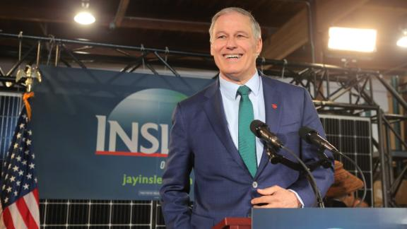 Inslee announces his presidential bid in March 2019.