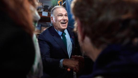 Inslee greets supporters in Seattle after announcing that he would be running for president.