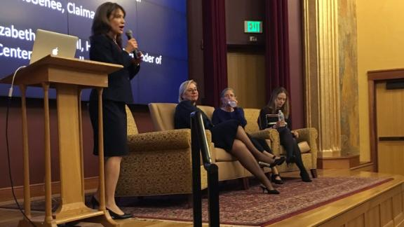 """University of Denver associate professor Elizabeth Campbell, left, leads a screening of """"Under the Hammer of the Nazis"""" with Katrin Stoll, Nina McGehee and Meike Hopp."""