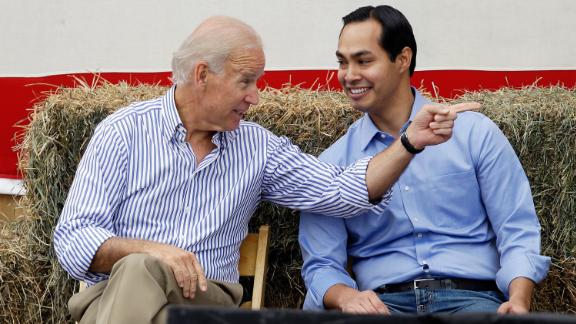 Castro talks with Vice President Joe Biden during a fundraising event in Indianola, Iowa, in 2013.