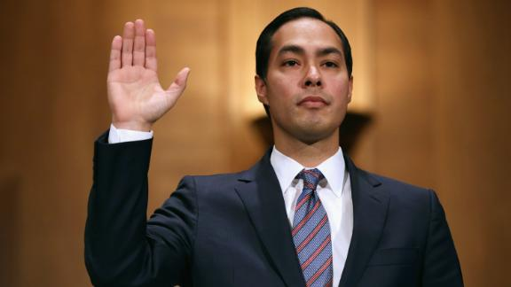 Castro is sworn in during his confirmation hearing in June 2014. He was confirmed by a 71-26 vote.