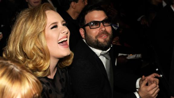 Adele and Simon Konecki attend The 54th Annual GRAMMY Awards at Staples Center on February 12, 2012 in Los Angeles, California.  (Photo by Kevin Mazur/WireImage)